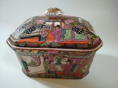 Chinese Export Famille Rose Medallion Covered Dish Bowl Lid painted figures WOW