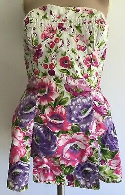 Vintage 1950s Style Floral Playsuit/Swimsuit Rockabilly Glam, Small Size