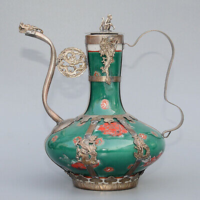Collect Old Miao Silver Armour Porcelain Carve Monkey & Myth Dragon Luck Tea Pot