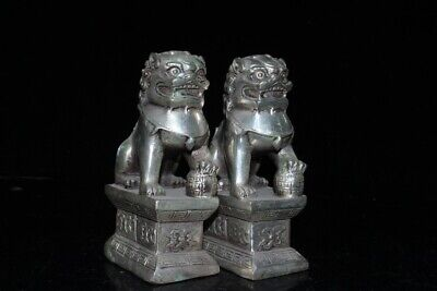 Collectable China Old Miao Silver Hand-Carved Myth Lion Bring Luck A Pair Statue