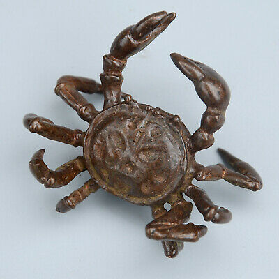 Collectable China Old Red Copper Hand-Carved Crab Delicate Unique Noble Statue