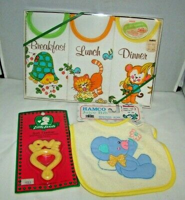 Vintage Little Hearts Hamco Glenco Baby Bibs and Soft Teether Lot NEW