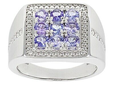 Natural Tanzanite Gemstone with 925 Sterling Silver Statement Ring for Men's