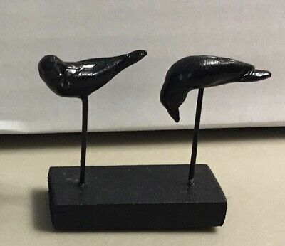 """2 Black Crow on Wire & Small Wood Base 1"""" Scale Miniature #4"""