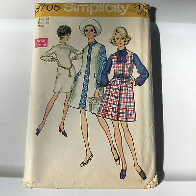 """Simplicity 8705 vintage sewing pattern Sleeveless Coat and Dress sz 14 36"""" bust"""