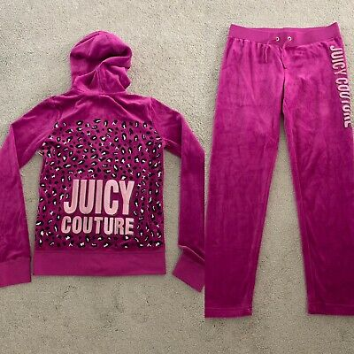 Juicy Couture Girls Velour Tracksuit, Size Age 14 Years Hoodie & Age 12 Bottoms