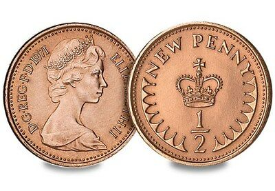 1971 Half New Pence Coin Uncirculated First Issue Of Decimal 1/2P