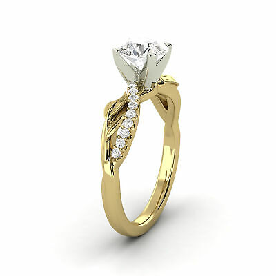 1.01 Carat Natural Diamond Round Shape 14K Yellow Gold Bridal w/Accents Ring