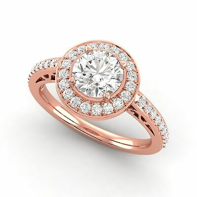 0.84 Carat Round Shaped Diamond Halo Ring F SI2 Natural 14K Rose Gold Enhanced
