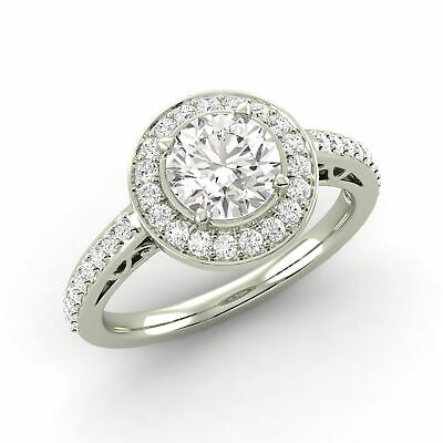 0.84 CTW Round Shaped Diamond Engagement Ring D VS2 Mined Enhanced