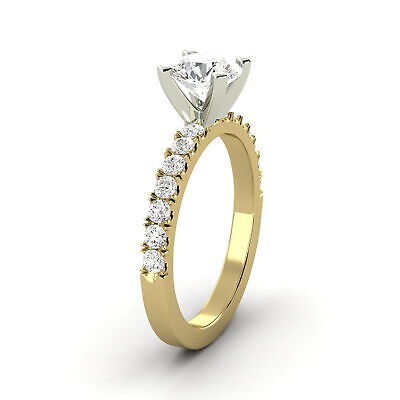 0.95 Carat Natural Diamond Round Shape 14K Yellow Gold Bridal w/Accents Ring