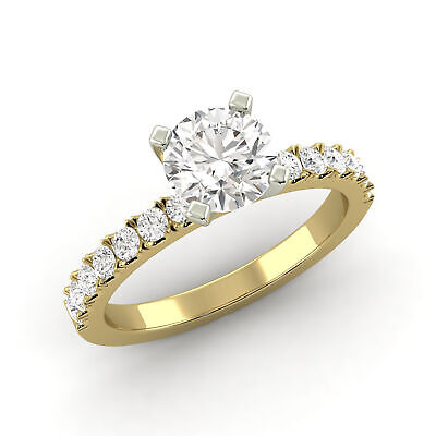 0.96 Carat Natural Diamond Round Shape 14K Yellow Gold Bridal w/Accents Ring