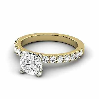 1.16 Carat Diamond G Round Shape 14K Yellow Gold Bridal w/Accents Ring Enhanced