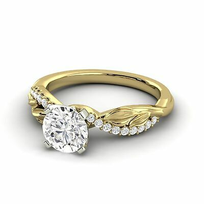 1.1 Carat Natural Diamond Round Shape 14K Yellow Gold Bridal w/Accents Ring