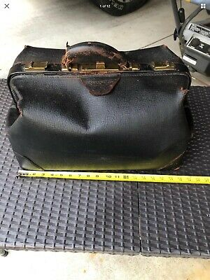 VINTAGE LARGE DOCTOR'S BAG Brown/Black Cowhide Leather Medical Bag...