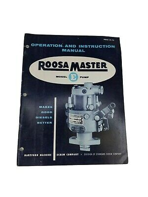 Roosa Master E Injection Injector Pump Service Manual