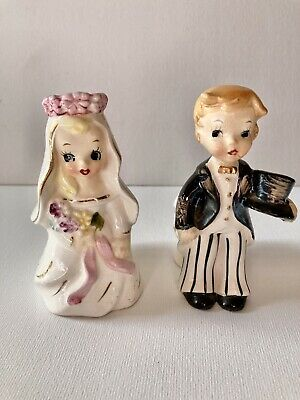 Vintage Tilso Bride And Groom Candleholders Japan Hand Painted