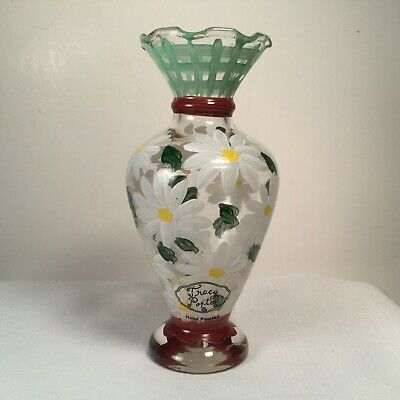 """Lovely Hand Painted TRACY PORTER Glass Floral Daisy Daisies Vase 6 1/2"""" Tall"""