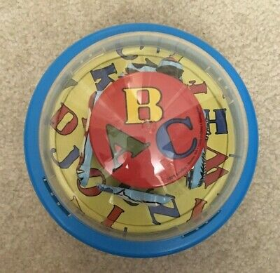 "Schylling Blue Chime Ball 6.5"" Diameter ABC Tin Animals Baby Sensory Toy 2010"