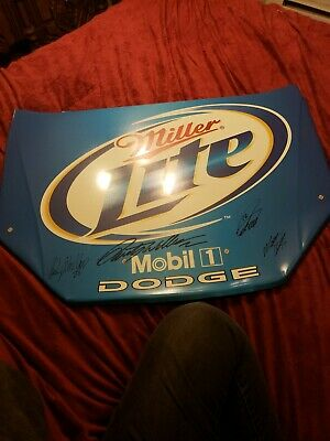 "Miller Lite Racing Hood Advertising Tin Sign 31""w 21 1/2 L 4 signatures"