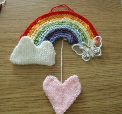 KNITTING PATTERN 18cms long x 10cms tall Rainbow of Hope Hanging Decoration