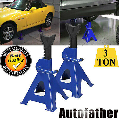 2 Pack 5 Years Gurantee Steel Jack Alxe Stand Vehicle Caravan Van Stand Lifting Lift 3 Ton Capacity Ratchet Type Holding Stands Quick Heavy Duty Blue