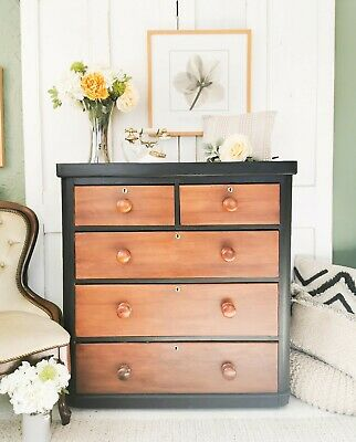 Large Victorian Black & Mahogany Chest Of Drawers-Vintage / Antique / Industrial
