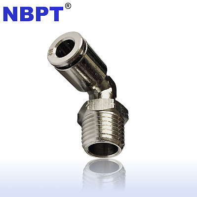 5pc Brass Push in One Touch 1/4OD x 1/8 NPT Male 90°Elbow Fitting NBPT