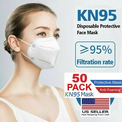 50 PCS KN95 Face Mask Disposable Mouth Cover Medical Protective Respirator PM2.5