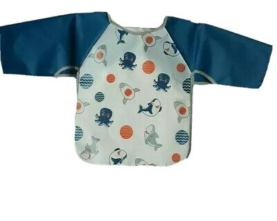 Baby Toddler Wipe Clean Coverall Bib and floor mat Waterproof Meal Time No Mess