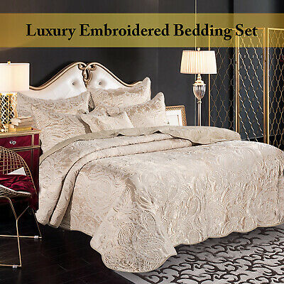 Luxury Embroidered Quilted Bedspread Jacquard Bedding Double King Comforter Set