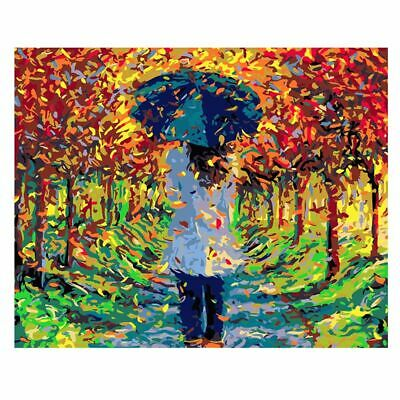 Abstract Beautiful Autumn Walk Leaves Trees  Bright Paint By Numbers Canvas Art