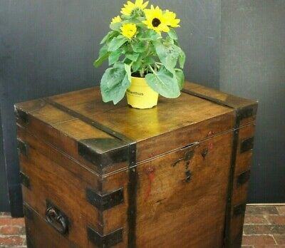 Tall Antique Oak And Steel Bound Silver Chest Furniture