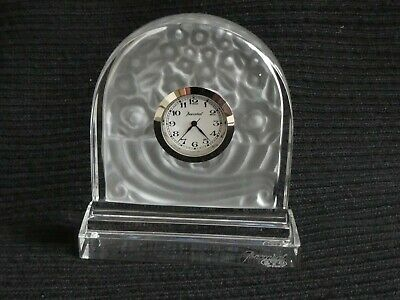 Beautiful Baccarat French Clear & Frosted Crystal Glass Minature Mantle Clock
