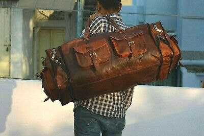 Leather Vintage Bag Travel Men Luggage Duffle Gym Weekend S Overnight Genuine
