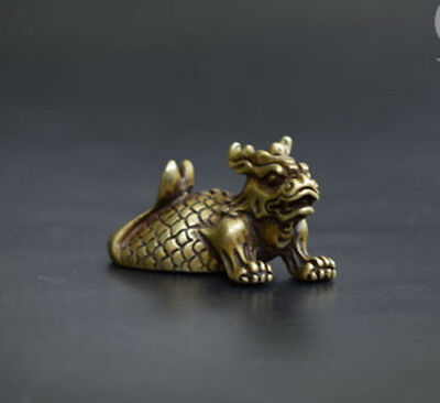 Collection archaize brass dragon fish small statue