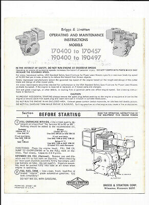 BRIGGS & STRATTON OPERATING & MAINTENANCE INSTRUCTIONS 170400 to 170457-190400-