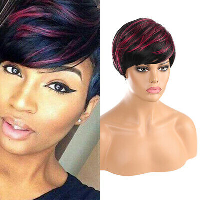 Bob Short Wigs Black Red Mixed Pixie Cut Synthetic Bangs Full Hair Wig Cosplay