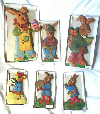 Rabbits & Mouse Wooden Hanging Wall Plaques Easter Childrens Bedroom Playroom