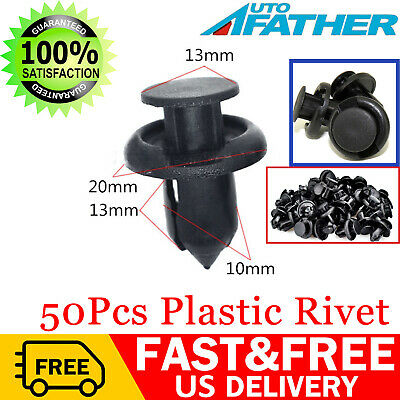 50 x 10mm Hole Plastic Rivets Fastener Push Clips Black For Car Auto Fender