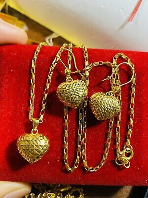 18k Fine 18 750 Yellow Saudi Gold Set Heart Necklace With Earring Usa Seller 440 50 Picclick