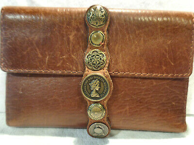 Patricia Nash Woma's Large Brown Leather Wallet With Coins/Medallions P327176