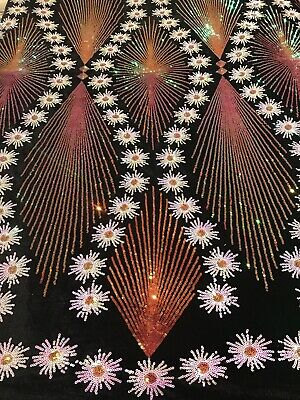 """Black 1way Stretch velvet W/multicolor Sequins Lace Fabric 50"""" Width 1 Yard"""
