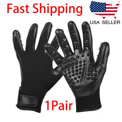 Pet Dog Cat Grooming Gloves Hair Fur Remover Bathing Shedding Massage one Pair