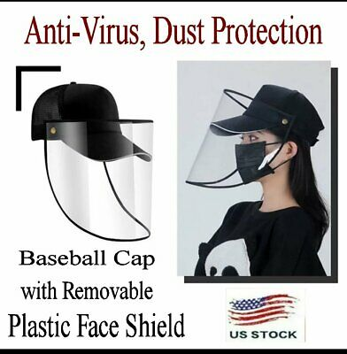 Dust-Proof Baseball Cap with Transparent Face Eye Protection Shield Unisex US
