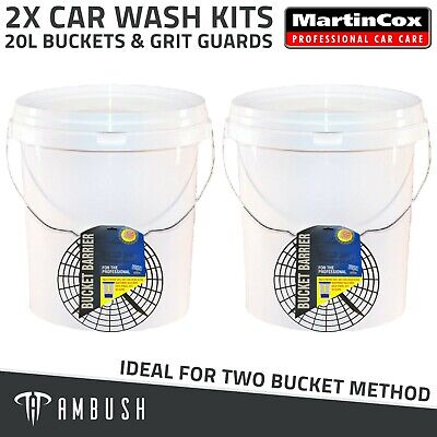 Car Wash Kit 2x Large Detailing Buckets 20L & 262mm Grit Guards Two Bucket Wash