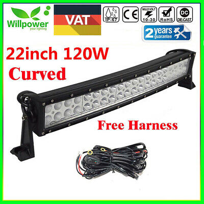 24inch 120w Curved Led Work Light Bar For Offroad Truck 4wd Boat Suv Ute Wiring For Sale Picclick
