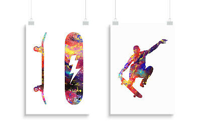 poster gift home picture print wall art Skateboard Backflip Greyscale