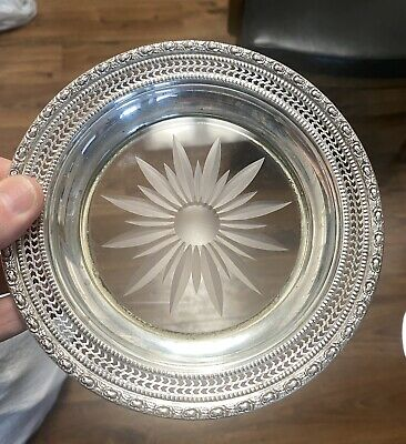 Sterling silver plate w glass center Whiting Talisman Rose pattern