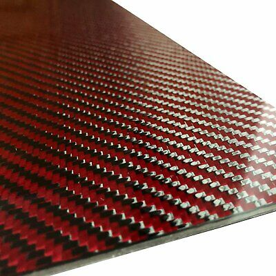 (2) Red Carbon Fiber Plate - 400mm x 500mm x 2mm Thick - 100% -3K Tow, Plain...